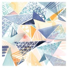 Triangle Overlay Watercolor Art Print by YaoChengDesign on Etsy