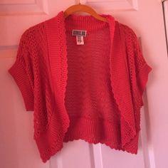 Orange Bellero Sweater Very cute worn once. Is crochet adorable sleeves. Robbie Bee Sweaters Shrugs & Ponchos