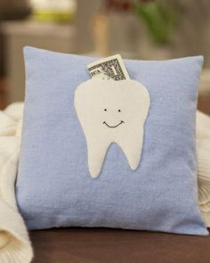 Just whipped up a Tooth Fairy Pillow using the tooth template from this site.  Instead of a face, I put my daughters initial on the tooth and used some scrap fabric to make the pillow.  I also added a piece of ribbon to the top like a handle that we can use to hang it on the bedpost or doorknob.