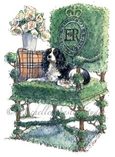 Doesn't every Cavalier King Charles need their own royal topiary throne in the garden complete with David Austin English Roses and Burberry Pillow? michellemasters.com.