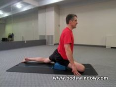Do the Pigeon Pose with a yoga block under your hip, as shown, if you have very tight hips and hamstrings.