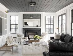 Shiplap Fireplace - Design photos, ideas and inspiration. Amazing gallery of interior design and decorating ideas of Shiplap Fireplace in bedrooms, living rooms, decks/patios by elite interior designers - Page 1 Coastal Living Rooms, Home And Living, Living Room Decor, Living Spaces, Home And Family, Young Family, Cozy Living, Dining Room, Living Modern