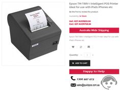 Best deals on Epson TM-T88V-I Intelligent POS Printer ideal for use with iPads iPhones etc. QuickPOS service limits to only Australia..!  http://www.quickpos.com.au/epson-tm-t88v-i-edg-intelligent-pos-receipt-printer