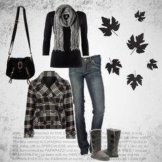 Cute casual gray  black outfit... Fall is just around the corner! Right?