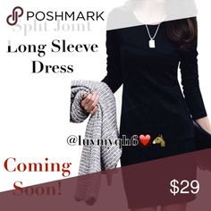 🍁🆕Stunning Split Joint Long Sleeve Sheath Dress Split Joint Long Sleeve Sheath Dress. Sits above the knee. Color: Black. Made of cotton.  Dress is approx 34 inches long, Bust approx 36, Waist 31 1/2 inches, Hips approx 36inches, Sleeve length 23 2/2 inches long. Qty (1), Size Large. (Please read measurements) Dresses Long Sleeve
