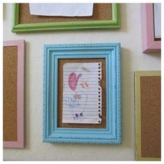 Use old picture frames, paint them, add cork board and pin your child's drawings up!! Love this.
