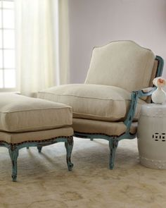 """I have to have this chair for the master bedroom sitting area. Burlap Bergere Chair & Ottoman by Old Hickory Tannery at Horchow.  Beechwood frame.  Hand-painted, distressed turquoise finish.  Cotton/linen upholstery.  Leather gimp and nailhead trim.  Chair, 32""""W x 38.5""""D x 39.5""""T.  Ottoman, 33""""W x 22""""D x 20""""T."""