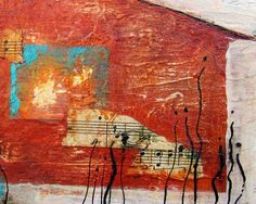 Original Collage Art with Sheet Music Paint and Ink by peggradyart