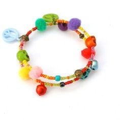 Bracelet groovy, bracelet hippie, bijou ethnique chic, bracelet multicolore avec pompons, grelots, peace & love et têtes