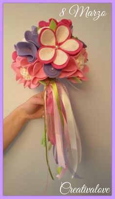 Bouquet di fiori in feltro/pannolenci. Handmade Felt Creations.