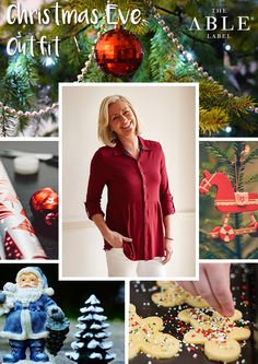 The Able Label Christmas Eve outfit. Imogen shirt in red