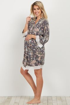 Charcoal Floral Crochet Trim Delivery/Nursing Maternity Robe