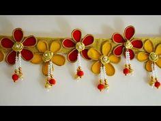 Toran making DIY/ Bandarwal Diwali Decoration Items, Diwali Decorations At Home, Door Hanging Decorations, Festival Decorations, Cloth Flowers, Paper Flowers Diy, Flower Crafts, Diwali Diy, Diwali Craft