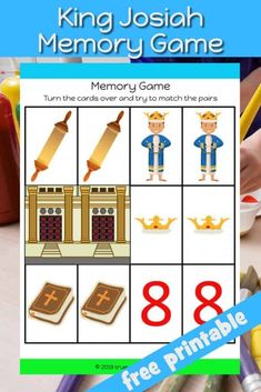 King Josiah memory card game for kids. Using objects from 2 kings children must remember where the pairs are and match them. Great to teach children about how the people forgot about God's word in the temple and the importance of remembering Scripture. Free Sunday School Lessons, Sunday School Crafts, Teaching Kids, Kids Learning, Preschool Bible Lessons, Preschool Worksheets, King Josiah, Indoor Activities For Toddlers, Card Games For Kids