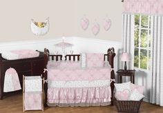 Pink and Gray Alexa Butterfly Baby Bedding 9pc Crib Set by Sweet Jojo Designs