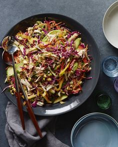 Rainbow Asian Chicken Slaw from www. (What's Gaby Cooking) Rainbow Asian Chicken Sla Healthy Dinner Recipes, Cooking Recipes, Cookbook Recipes, Whats Gaby Cooking, Asian Slaw, Asian Coleslaw, Leftover Turkey Recipes, Asian Chicken, Roast Chicken