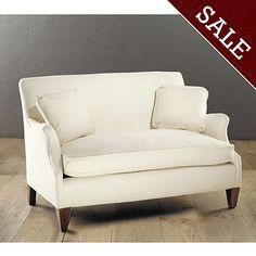 option for settee for the sunroom Hudson Upholstered Settee