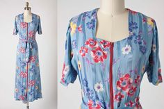 1940s Floral Dress / 40s Vintage Dress / 40s by vintagesalvation, $95.00