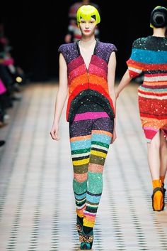2a. Fall 2010 RTW Manish Arora, does a full sequins beading similar to a full beaded sheath dress but instead done as a jumpsuit