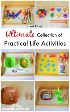 Ultimate Collection of Practical Life Activities (Part One) - Best Picture For Montessori actividades For Your Taste You are looking for something, and i Montessori Baby, Montessori Trays, Montessori Classroom, Montessori Education, Maria Montessori, Autism Classroom, Toddler Learning Activities, Infant Activities, Life Skills Activities