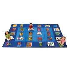 Reading by the Book Seating Rug - Noise-reducing rug features extra-roomy squares with colorful graphics to define seating areas for every student! Available in three sizes.