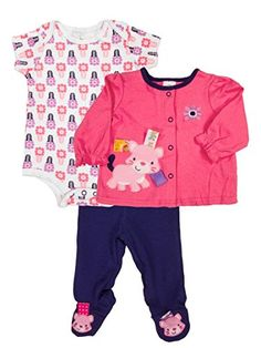 03688a2c1 layette set with kitty cat print. Short sleeve print snap one piece and  footed pants. Long sleeve snap shirt with kitty applique and interactive  tags.