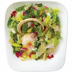 Caesar salad from Don Don Izakaya: lemony romaine, flower petals, Parmesan, a hoop of puff pastry, and a poached duck egg. Hail Caesar, Classic Caesar Salad, Restaurant Dishes, Flower Petals, Just Desserts, Parmesan, Pasta Salad, Toronto, Hoop