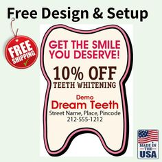 Custom Tooth Shape Dental Fridge Magnets 20 Mil - Dental Fridge Magnets - Dental & Orthodontist Magnets - Shop By Theme Teeth Shape, Street Names, Dental Care, Teeth Whitening, Free Design, Color Mixing, 3d Printing, How To Apply, Refrigerator Magnets