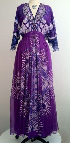 Dress, Zandra Rhodes, 1970's vintage fashion style purple sheer dress 70s designer couture gown long maxi floral novelty print 70s