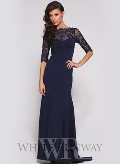 Robin Dress by Luxe Elle Zeitoune. An elegant full length gown by Elle Zeitoune. A high neck style featuring a lace décolletage with sleeve and a floor sweeping train.