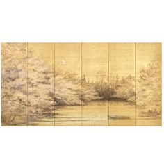 1stdibs - Sugawara Sachiyo Screen Painting of the Moon & Flowering Cherry explore items from 1,700  global dealers at 1stdibs.com