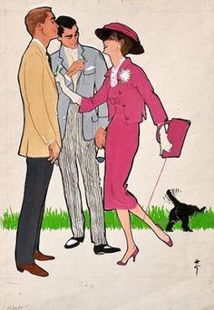"""illustration by René Gruau, 1958, Inserto per """"Adam."""""""