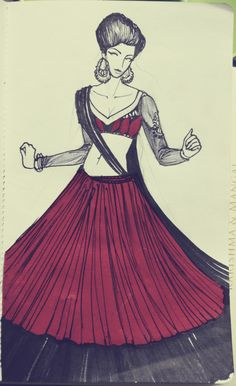 All this Ram-Leela fever in India. Black pen and marker and Red paper  gorgeous!