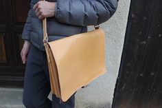 LEATHER LAPTOP BAG Men's Genuine Leather messenger by EATHINI