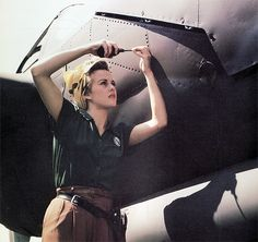 An American war worker at Lockheed's Burbank P-38 facility