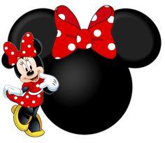 Siluetas de la cabeza de Minnie con lindas ilustraciones.