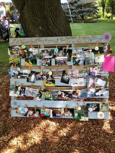 Memory Board made from a pallet for my daughters graduation party / http://www.deerpearlflowers.com/wedding-photo-display-ideas/