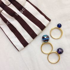 HP 2/17/15Henri Bendel stackable globe rings Trio of stackable rings in 12k gold plated brass with faceted Swarovski crystal globes in different colors and sizes. All three rings are the same size, about size 6. Can be worn separately or stacked together. henri bendel Jewelry