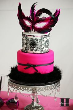 Love this cake style! And that it's not overly done, nor is tacky with the masque. Imagine different sizes and different colors over a table spread. Love! (Another view can also be seen here: http://www.jayscatering.com/blog/tag/birthday-cakes/ )