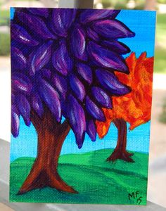 Purple and Orange ACEO tree painting