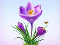 Spring by Artua Graduation Photoshoot, Custom Icons, Types Of Painting, Cg Art, Plant Illustration, Pencil Portrait, Handmade Flowers, Spring Flowers, Icon Design