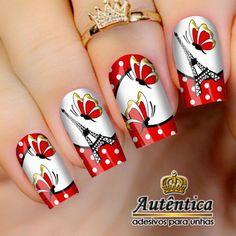 ADESIVO DE UNHA PARIS Glitter Nail Art, Flower Nails, Pedicure, My Nails, Nail Designs, Lily, How To Make, Beautiful, Christmas