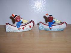 Vintage Salt & Pepper Shakes Indian Boys in Canoe Made in Japan Salt N Pepper, Salt Pepper Shakers, Indian Ceramics, Indian Boy, Napkin Holders, Canoe, Pots, Collections, Stuffed Peppers