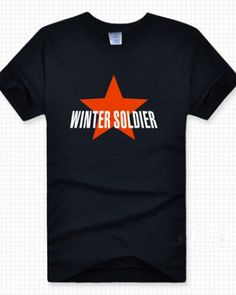 Captain America The Winter Soldier black t shirt for men star pattern-