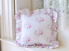 Rose pillows, ruffled pillows, pink bedding, shabby chic