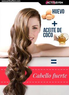 1 clara de huevo+ 3 cucharadas de aceite de coco (sólido)= Mascarilla fortificante para el cabello