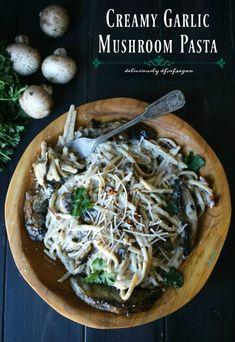 Creamy Garlic and Mushroom Pasta Recipe (dairy-free, nut-free, vegan and gluten-free optional!) - by Nicole Dawson of Allergylicious