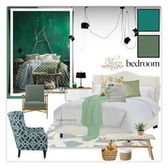 """Green Bedroom"" by rainie-minnie ❤ liked on Polyvore featuring interior, interiors, interior design, home, home decor, interior decorating, Flos, Somerset Bay, Skyline and Bloomingville"