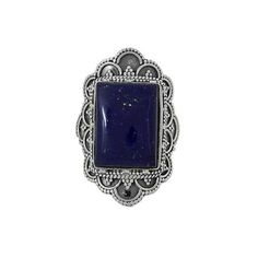 NOVICA Hand Made Sterling Silver Lapis Lazuli Cocktail Ring India (155 BRL) ❤ liked on Polyvore featuring jewelry, rings, clothing & accessories, cocktail, lapis lazuli, handcrafted sterling silver rings, star ring, handcrafted sterling silver jewelry, sterling silver jewelry and sterling silver statement ring