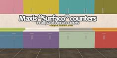 """As requested by terrible-thought: Maxis """"Surfaco"""" from the K&B stuff pack in all 30 of Anna's colors - both the body and the counter tops. They do not have dirty states at all, they'll look like this no matter if they're clean or dirty. Why? Because I am too lazy to do dirty states since I never ever see them myself. Dealwithit.jpg. K&B is (obviously) required and there's a swatch of Anna's colors included in the .rar, so you can easily ..."""